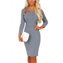 Womens Elegant Plain Grey Crisscross Cutout Neck Long Sleeve Zipper Back Midi Pencil Dress