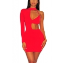 Womens Popular Sexy One Shoulder Long Sleeve Irregular Cutout Mini Bodycon Dress