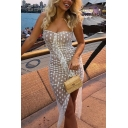 Summer Womens Fancy Sexy Strapless White Polka Dot Ruffled Bodycon Mesh Dress