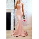 Fancy Pink Chic Lace Panel Halter Neck Sexy Open Back Floor Length Bodycon Evening Dress