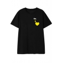 Fashion Simple Heart Print Round Neck Short Sleeve Loose T-Shirt