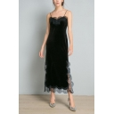 Womens Fancy Black Lace-Trimmed Split Side Maxi Velvet Slip Dress