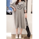 Womens Hot Stylish Over Size Plain Short Sleeves Cartoon Print Midi T-Shirt Dress