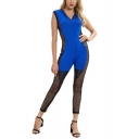 Summer New Arrival Hot Fashion V-Neck ColorBlock Hooded Sheer Mesh Patch Cutout Skinny Fitted Jumpsuits