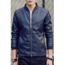 Mens Basic Simple Solid Color Stand Up Collar Long Sleeve Zip Up Fitted PU Jacket