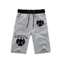 Men's Popular Fashion Letter SHIELD Printed Drawstring Waist Casual Cotton Sweat Shorts