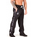 Men's New Fashion Letter Printed Tape Side Drawstring Waist Casual Loose Sweatpants