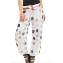 Womens Fashion Fancy Polka Dot Print Tie-Waist Loose Bloomers Pants