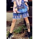 Cool Girls Street Fashion Unique Blue Graffiti Sport Loose Straight-Leg Shorts