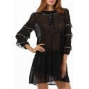 Fashion Black Sheer Chiffon Contrast Trim Layered Long Sleeve Casual Mini A-Line Dress