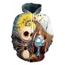 Cool Halloween Jack Skellington Cartoon 3D Print Sport Loose Unisex Hoodie
