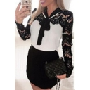 Stylish Patch Lace Sleeve Bow Belt Embellished Chic Mini Dress