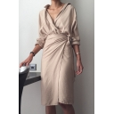 Stylish Womens Simple Plain Plunge V-Neck Long Sleeve Tie Waist Midi Sheath Wrap Shirt Dress