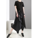 Hot Stylish Black Short Sleeves Button Front Patch T-Shirt Maxi Asymmetric Dress
