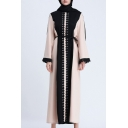 Womens Fashion Long Sleeve Pompom Trim Tie Waist Patch Maxi Shift Muslim Robe Dress