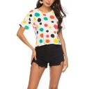Summer Womens Simple Polka Dot Print Round Neck Short Sleeve Crop T-Shirt