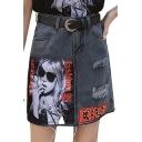 Womens Stylish Summer Kiss Letter Cartoon Print Ripped Pocket Embellished Tassel Trim Mini A-Line Skirt