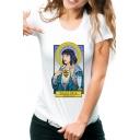 Womens Funny Figure Saint Mia Pattern Round Neck Short Sleeve White Tee