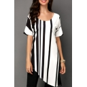 Womens Black and White Striped Print Round Neck Short Sleeve Longline Asymmetric T-Shirt