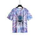 The Golden Dawn Sun Print Purple Tie Dye Short Sleeve Round Neck Tee