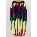 Womnes Hot Popular Summer Geometric Print Elastic Waist Pleated Midi A-Line Skirt