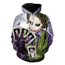 Cool Clown Jack Poker Card Printed Long Sleeve Casual Sport Hoodie