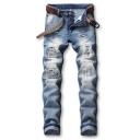 Men's Hot Fashion Vintage Denim Washed Slim Fit Pleated Ripped Biker Jeans