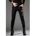 Men's Popular Fashion Letter Stars Printed Black Slim Fit Casual Jeans