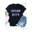 Cool Figure Letter OCEAN EYES Printed Round Neck Short Sleeve Black T-Shirt