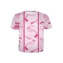 New Stylish Ahegao Comic Girl Tongue Printed Short Sleeve Pink T-Shirt