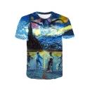 Oil Painting 3D Print Blue Short Sleeve T-Shirt