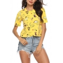 Summer Womens Simple Cartoon Animal Print Yellow Short Sleeve T-Shirt