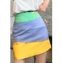 Summer Sweet Womens Hot Fashion High Waist Colorblock Slim Fitted Mini A-Line Skirt