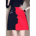 Summer Hot Sale Colorblock Digital Print High Waist A-line Mini Knit Skirt