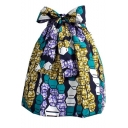 Summer Trendy Chic Geometric Print Bow-Tie Fitted Mini Puffy Skirt