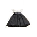 Trendy Womens Bow Front Beading Embellished Pleated Mini Puffy Skirt
