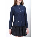 Hot Popular Womens Long Sleeve Button Front Lip Floral Printed Fitted Denim Shirt