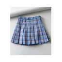 Sweet Womens Hot Stylish High Waist Check Print Button Side Pleated A-Line Mini Skirt