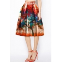 New Stylish Womens High Waist Tie Dye Tree Print Pleated A-Line Midi Puffy Skirt