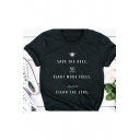 Summer Fashion Letter SAVE THE BEES Short Sleeve Loose Casual Graphic Tee