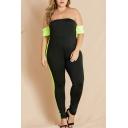 Summer Hot Popular Black Plus Size Chic Off Shoulder Short Sleeve Contrast Trim Sexy Jumpsuits