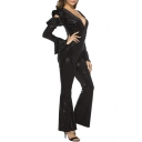 Hot Trendy Vintage Black Plunge V Neck Ruffle Sleeve Cutout Sequin Embellished Sexy Jumpsuits