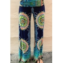 New Stylish Womens Geometric Printed Loose Wide Leg Pants