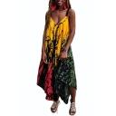 Summer Hot Sale Plunge V Neck Straps Sleeveless Colorblock Asymmetric Hem Leisure Jumpsuits