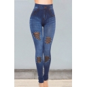 Stylish Chic Solid Plain High Waist Beading Sheer Mesh Patch Skinny Fitted Sport Fake Denim Legging Pants