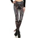 New Trendy Elastic Waist Armor Printed Cool Skinny Legging Pants