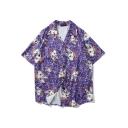 Cool Purple Allover Cartoon Monster Printed Lapel Collar Short Sleeve Beach Shirt