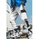 Men's Street Style Trendy Colorblock Tape Side Elastic Cuff Casual Sports Cargo Pants