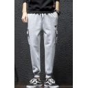 Men's New Fashion Letter KEEP CALM Stripe Printed Drawstring Waist Casual Cotton Cargo Pants