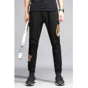 Fashion Cool Tiger Embroidery Men's Drawstring Waist Black Cotton Relaxed Sweatpants